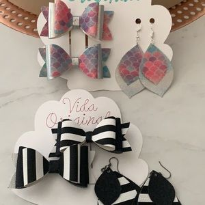 Mommy and me bows/earrings set